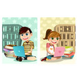 kids studying using laptop vector image