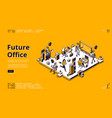 landing page future office with robots vector image
