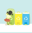 little girl in skirt recycling in street vector image vector image