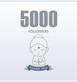 little monk showing gratitude for 5000 followers vector image