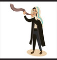 man blowing shofar horn for jewish new year vector image