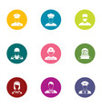 metier icons set flat style vector image vector image