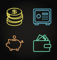 money icon set in neon line style vector image vector image