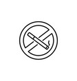 no smoking sign line icon black on white vector image