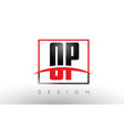 op o p logo letters with red and black colors and vector image vector image