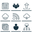 set of 9 world wide web icons includes virtual vector image