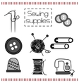 set of icons with sewing tools vector image
