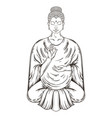 Sitting Buddha in Lotus pose teaching vector image