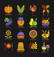 thanksgiving day color icon set with reflection vector image vector image