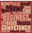 The 3 Core Competencies of a Successful Home Based vector image vector image