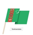 Turkmenistan Ribbon Waving Flag Isolated on White vector image vector image