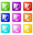 tv icons set 9 color collection vector image vector image