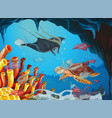 underwater scene with animals and trash vector image