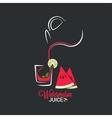 watermelon juice glass and jug summer smoothie vector image