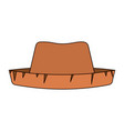 white background of straw hat with thick contour vector image
