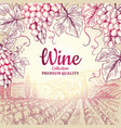 wine background grapes leaves branch bottles vector image vector image