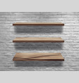 wood shelves on white brick wall loft workspace vector image