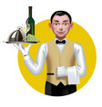 young waiter with a tray in a yellow circle vector image vector image