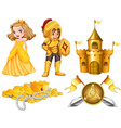 Fairytales set with knight and princess vector image