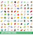 100 lifetime icons set isometric 3d style vector image vector image