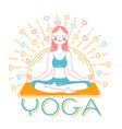 banner girl yoga inear style vector image vector image
