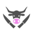 butchery knives halftone dotted icon vector image vector image