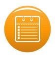 calendar list icon orange vector image