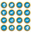 cannon retro icons set simple style vector image vector image