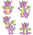 cartoon dragons collection set vector image