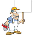 Cartoon painter holding a sign vector image