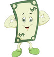 cartoon powerful and strong dollar vector image vector image