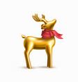 christmas golden reindeer on purple frame vector image vector image