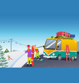 couple snowboarding at a winter resort vector image vector image