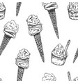 drawing ice cream seamless pattern vector image