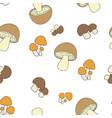 edible mushrooms pattern seamless vector image