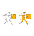 fast delivery symbol courier runs with box vector image vector image