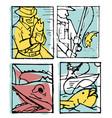 fishing poster set vector image