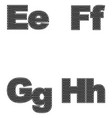 four letters e f g h large and small a simple vector image