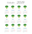 funny calendar 2019 with broccoli vector image