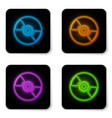 glowing neon cd or dvd disk icon isolated on vector image vector image
