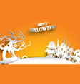 halloween background with haunted tree and house vector image