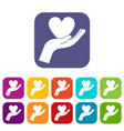 hand holding heart icons set flat vector image vector image