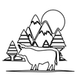 Isolated bull animal design vector image