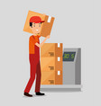 logistic services with delivery worker vector image vector image