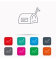 Mailbox with flag icon Post email box sign vector image