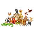 many animals on white background vector image