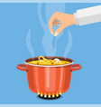 pan on the fire a pot of soup vector image vector image
