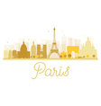 Paris City skyline golden silhouette vector image vector image