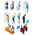 people election isometric politic voting booth vector image
