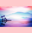 purple background with sea and palm trees vector image vector image